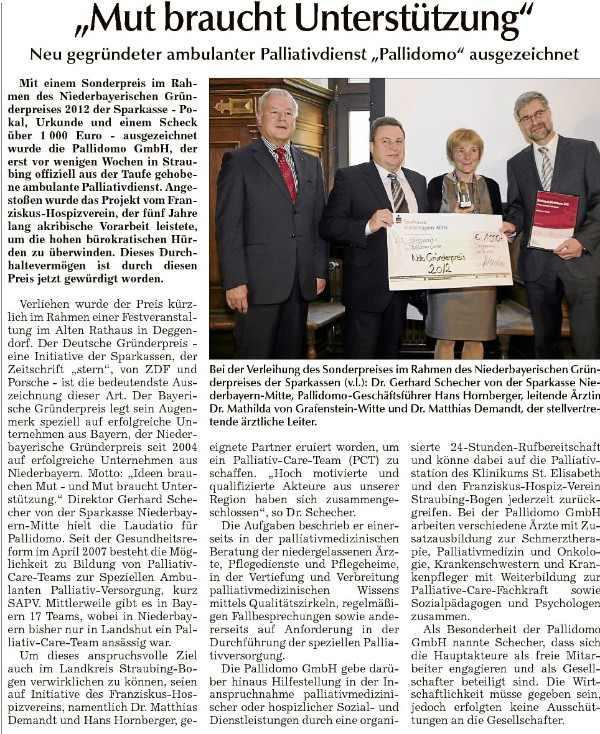 Gründerpreis 2012 für Pallidomo GmbH