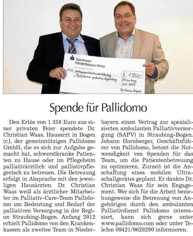 Artikel Straubinger Tagblatt, 24.07.2012, Spende für Pallidomo